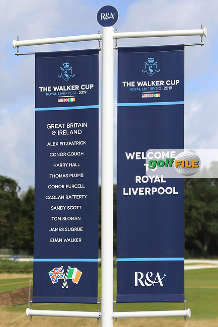 Sign with GB&I Team names at the 1st tee during the preview round at the Walker Cup, Royal Liverpool Golf CLub, Hoylake, Cheshire, England. 06/09/2019.<br /> Picture Thos Caffrey / Golffile.ie<br /> <br /> All photo usage must carry mandatory copyright credit (© Golffile | Thos Caffrey)