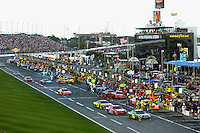 DAYTONA BEACH, FL - FEBRUARY 17: Jimmie Johnson leads the field into the pit lane during the Daytona 500 NASCAR Sprint Cup race at the Daytona International Speedway in Daytona Beach, Florida, on February 17, 2008.