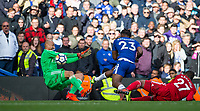 Michy Batshuayi of Chelsea scores his second goal past Goalkeeper Heurelho Gomes of Watford to make it 4-2 in the 95th minute during the Premier League match between Chelsea and Watford at Stamford Bridge, London, England on 21 October 2017. Photo by Andy Rowland.