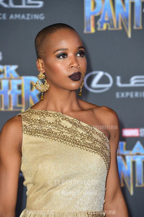 Marija Juliette Abney at the world premiere for &quot;Black Panther&quot; at the Dolby Theatre, Hollywood, USA 29 Jan. 2018<br /> Picture: Paul Smith/Featureflash/SilverHub 0208 004 5359 sales@silverhubmedia.com
