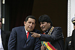 &copy;PATRICIO CROOKER<br /> La Paz, Bolivia<br /> A picture dated January 22, 2006 shows Bolivian President Evo Morales and Venezuelan Presidente Hugo Chavez during the inaguration of Evo Morales at the balcony of the Government Palace.