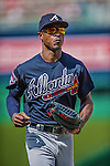 22 June 2014: Atlanta Braves outfielder B.J. Upton in action against the Washington Nationals at Nationals Park in Washington, DC. The Nationals defeated the Braves 4-1 to split their 4-game series and take sole possession of first place in the NL East. Mandatory Credit: Ed Wolfstein Photo *** RAW (NEF) Image File Available ***