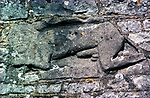 Celtic Pagan Fertility Figure.  The church of St James the Great, Abson, Somerset, England. Celtic Britain published by Orion