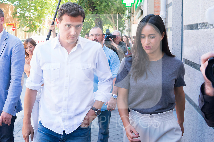 President of Ciudadanos, Albert Rivera, and vice mayor of Madrid, Begona Villacis, visit the neighbors affected by the squatting in Puente de Vallecas, Madrid. September 26, 2019. (ALTERPHOTOS/Francis González)