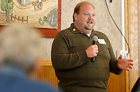 NWA Democrat-Gazette/DAVID GOTTSCHALK  Robbie Wilson, of Fort Smith, the announced Democratic candidate for the Third District Congressional seat speaks Tuesday, September 15, 2015 to the Senior Democrats at the Western Sizzlin restaurant in Springdale.