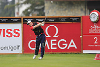 Todd Sinnott (AUS) tees off the 2nd tee during Saturday's Round 3 of the 2017 Omega European Masters held at Golf Club Crans-Sur-Sierre, Crans Montana, Switzerland. 9th September 2017.<br /> Picture: Eoin Clarke | Golffile<br /> <br /> <br /> All photos usage must carry mandatory copyright credit (&copy; Golffile | Eoin Clarke)