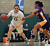 Jenna Annecchiarico #13 of Baldwin, left, dribbles downcourt as Myha Lombert #1 of Central Islip guards her during the Class AA varsity girls basketball Long Island Championship at SUNY Old Westbury on Saturday, March 11, 2017. Annecchiarico tallied 12 points and seven steals as Baldwin, who led by one point (31-30) late in the third quarter, used a 22-0 run spanning the third and fourth quarters en route to a 56-31 win.