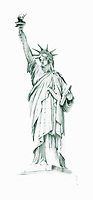 Watercolor painting of the Statue of Liberty, New York
