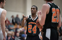 #24 Zach Baines<br /> The Occidental College men's basketball team plays against Pomona-Pitzer in the SCIAC Tournament Championship on Saturday, Feb. 23, 2019 in Claremont. Oxy lost, 68-45.<br /> Oxy finishes with its best overall record since 2007-08 at 22-5 overall, and went 12-4 in SCIAC play for the second season in a row.<br /> (Photo by Marc Campos, Occidental College Photographer)