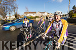 John Murray (Chairman of The Chain Gang Cycling Club) pictured on Tuesday morning last, who is highlighting the new 1.5 metre passing law which requires that motorists give cyclists 1.5 metres clearance when passing the rear,  l-r: Carmel Kelly, Siobhan Clear and Dave Elton (Secretary of The Chain Gang Cycling Club).
