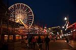 Ferris Wheel on Navy Pier lit up at night, Chicago, IL, USA