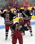 Samantha Reber (Harvard - 12), Kaitlin Spurling (Harvard - 17), ? - The Boston University Terriers defeated the Harvard University Crimson 5-2 on Monday, January 31, 2012, in the opening round of the 2012 Women's Beanpot at Walter Brown Arena in Boston, Massachusetts.