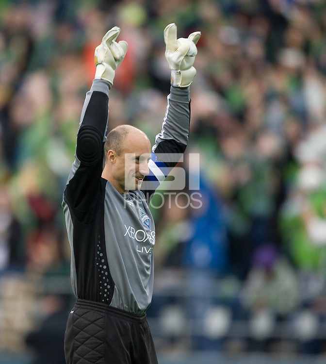 Kasey Keller celebrates after a Freddy Montero goal in 3-0 Seattle Sounders victory over the New Your Red Bulls, Thursday, March 19, 2009.
