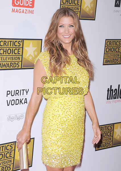 Kate Walsh.The 2nd Annual Critics' Choice Television Awards  held at The Beverly Hilton in Beverly Hills, California, USA..June 18th, 2012.half length yellow dress beads beaded gold clutch bag .CAP/RKE/DVS.©DVS/RockinExposures/Capital Pictures.