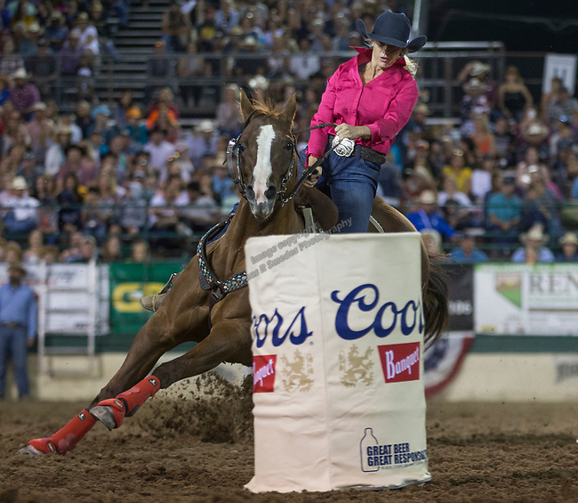 Megan Champion won the night's Barrel Racing event during the Reno Rodeo on Sunday, June 23, 2019.