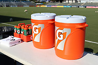 Cary, North Carolina  - Saturday August 05, 2017: Gatorade containers prior to a regular season National Women's Soccer League (NWSL) match between the North Carolina Courage and the Seattle Reign FC at Sahlen's Stadium at WakeMed Soccer Park. The Courage won the game 1-0.