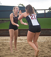 STANFORD, CA - March 10, 2019: Morgan Hentz, Amelia Smith at Stanford Beach Volleyball Stadium. The Stanford Cardinal fell to the Saint Mary's Gaels 3-2.