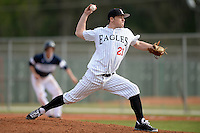 Edgewood Eagles pitcher Blake Bieri (21) during the first game of a doubleheader against the UW-Stout Blue Devils on March 16, 2015 at Lee County Player Development Complex in Fort Myers, Florida.  UW-Stout defeated Edgewood 6-1.  (Mike Janes/Four Seam Images)
