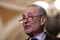 Senate Minority Leader Chuck Schumer, Democrat of New York, speaks during a press conference following a Democratic Caucus lunch on Capitol Hill in Washington, D.C. on March 12, 2019. Credit: Alex Edelman / CNP/AdMedia