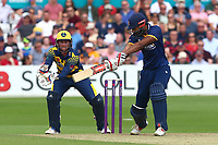 Varun Chopra in batting action for Essex as Chris Cooke looks on from behind the stumps during Essex Eagles vs Glamorgan, NatWest T20 Blast Cricket at The Cloudfm County Ground on 16th July 2017