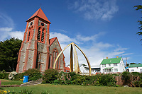 Lower jawbones of a blue whale line a park, Balaenoptera musculus, near a church in Port Stanley, Falkland Islands, British Overseas Territories, United Kingdom, South Atlantic