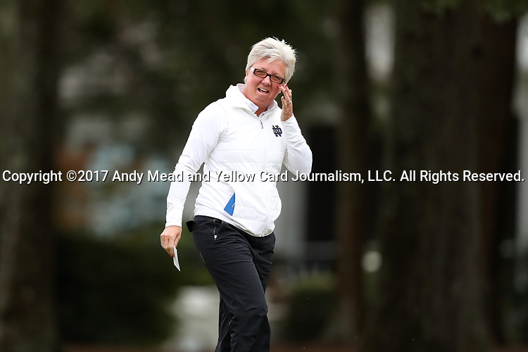 WILMINGTON, NC - OCTOBER 28: Notre Dame head coach Susan Holt. The second round of the Landfall Tradition Women's Golf Tournament was held on October 28, 2017 at the Pete Dye Course at the Country Club of Landfall in Wilmington, NC.