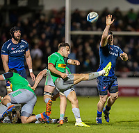 3rd January 2020; AJ Bell Stadium, Salford, Lancashire, England; English Premiership Rugby, Sale Sharks versus Harlequins; Tom Curry of Sale Sharks attempts to block a kick by Danny Care of Harlequins - Editorial Use