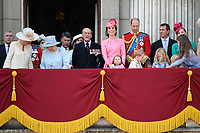 Camilla, Duchess of Cornwall; HM Queen Elizabeth II &amp; Prince Philip, Duke of Edinburgh; Catherine, Duchess of Cambridge; Princess Charlotte; Prince George &amp; Prince William, Duke of Cambridge; Peter &amp; Autumn Phillips; Savannah &amp; Isla Phillips on the balcony of Buckingham Palace following the Trooping of the Colour Ceremony celebrating the Queen's official birthday. London, UK. <br /> 17 June  2017<br /> Picture: Steve Vas/Featureflash/SilverHub 0208 004 5359 sales@silverhubmedia.com