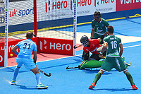 Pakistan goalkeeper Amjad Ali is unable to stop a goal from India's Harmanpreet as Ramandeep Singh looks on , 1-0 to India during the Hockey World League Semi-Final match between Pakistan and India at the Olympic Park, London, England on 18 June 2017. Photo by Steve McCarthy.