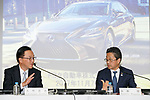 (L to R) Toyota Motor Corp. Senior managing officer Tetsuya Otake and Executive Vice President Osamu Nagata, speak during a news conference to present the company's financial results for the first half of its' 2017 financial year on November 7, 2017, Tokyo, Japan. Nagata reported 4,389,435 vehicle sales between April and September, an increase in 25,898 units compared to the same period in the previous fiscal year. Toyota's net revenues rose 8.6 percent to 14.191.2 trillion yen for the period whilst operative income decreased by 20.3 billion yen. (Photo by Rodrigo Reyes Marin/AFLO)