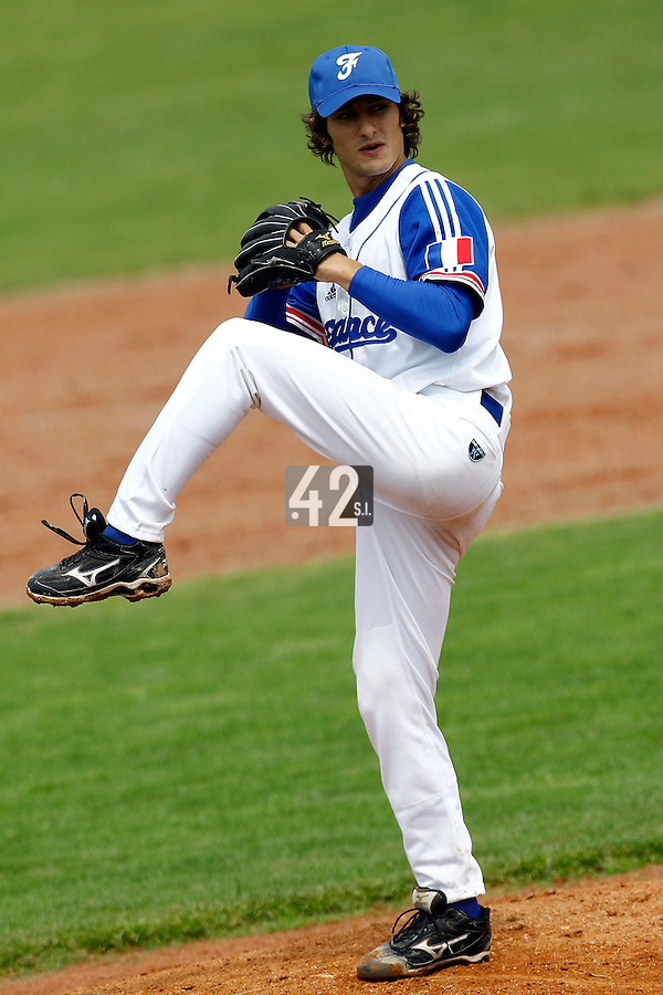 21 June 2011: Eloi Secleppe of Team France pitches against UCLA Alumni during UCLA Alumni 5-3 win over France, at the 2011 Prague Baseball Week, in Prague, Czech Republic.