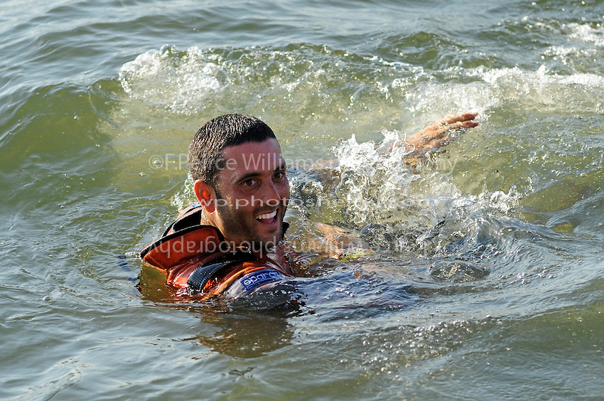 "3-4 May 2008, Pickwick,TN USA.Winner Shaun Torrente celebrates with his traditional dip in the ""race water""..©2008 F.Peirce Williams"