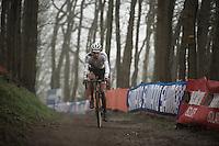 World Champion &amp; race leader (from start to finish) Mathieu Van der Poel (NLD/BKCP-Corendon)<br /> <br /> Grand Prix Adrie van der Poel, Hoogerheide 2016<br /> UCI CX World Cup