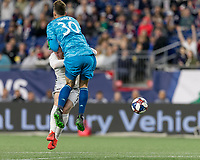 Foxborough, MA - May 25, 2019: In a Major League Soccer (MLS) match, New England Revolution (blue/white) tied D.C. United (white), 1-1, at Gillette Stadium on May 25, 2019 in Foxborough, MA. (Photo by Andrew Katsampes/ISI Photos).<br /> Red Card: Matt Turner (#30).