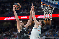 Real Madrid Luka Doncic and Brose Bamberg Dejan Musli during Turkish Airlines Euroleague match between Real Madrid and Brose Bamberg at Wizink Center in Madrid, Spain. April 06, 2018. (ALTERPHOTOS/Borja B.Hojas) /NortePhoto.com