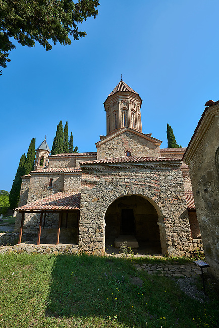 Pictures & images of the Church of the Transfiguration of Ikalto monastery was founded by Saint Zenon, one of the 13 Syrian Fathers, in the late 6th century. Near Telavi, Kakheti, Eastern Georgia (Country).<br /> <br /> The Ikalto Monastery is famous for the Academy of Ikalto founded in the reign of King David the Builder by Arsen Ikaltoeli. The Academy of Ikalto trained its students in classical diciplins of rhetoric, astronomy, philosophy, geography, geometry as well as learning the skills of chantings, pottery and poetry. In the 12th century the Georgian poet Shota Rustaveli studied here.