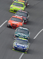 Apr 27, 2008; Talladega, AL, USA; NASCAR Sprint Cup Series driver Jimmie Johnson (48) leads teammate Dale Earnhardt Jr (88) during the Aarons 499 at Talladega Superspeedway. Mandatory Credit: Mark J. Rebilas-