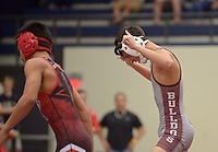 NWA Democrat-Gazette/BEN GOFF @NWABENGOFF<br /> Isaac Ponce (right) of Springdale celebrates after defeating Thai Ta of Fort Smith Southside in the 106 weight class final Saturday, Feb. 11, 2017, during the Big West Conference wrestling tournament at Wolverine Arena in Centerton.