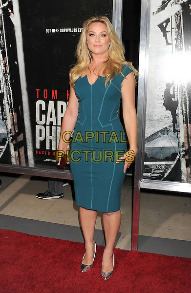 Elisabeth Rohm<br /> Premiere of &quot;Captain Phillips&quot; held at the Academy of Motion Picture Arts and Sciences, Beverly Hills, California, USA.<br /> September 30th, 2013<br /> full length green dress <br /> CAP/ROT/TM<br /> &copy;Tony Michaels/Roth Stock/Capital Pictures
