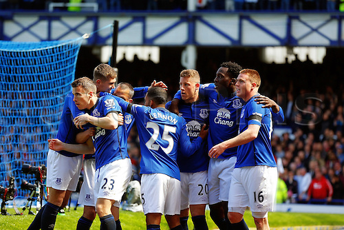 26.04.2015.  Liverpool, England. Barclays Premier League. Everton versus Manchester United. James McCarthy of Everton celebrates scoring his teams first goal