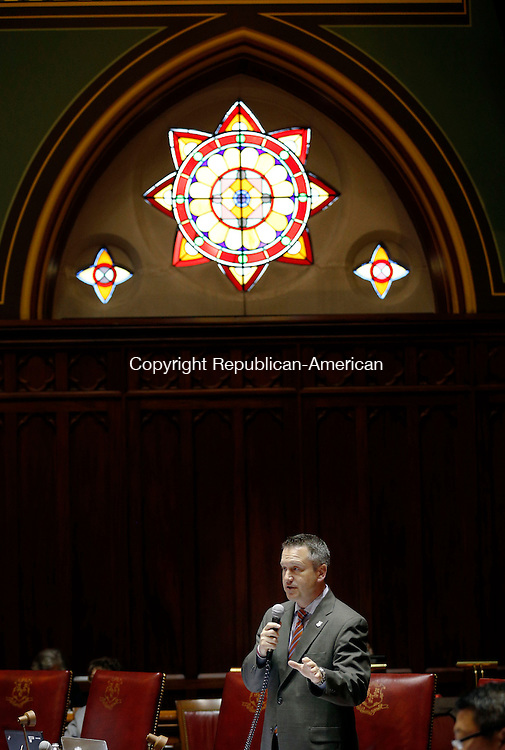 Hartford, CT- 03 June 2015-060315CM14-  State Senator Rob Kane (R-32) addresses fellow State Senators during a budget proposal inside the Senate Chamber at the State Capitol in Hartford on Wednesday.   Christopher Massa Republican-American