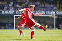 Dean Lewington of MK Dons clears the danger during the Sky Bet League 1 match between Southend United and MK Dons at Roots Hall, Southend, England on 21 April 2018. Photo by Carlton Myrie.