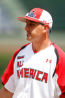 Justin Duarte before the Under Armour All-American Game at Wrigley Field on August 13, 2011 in Chicago, Illinois.  (Mike Janes/Four Seam Images)