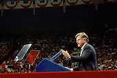 """New York, NY - (FILE) -- United States Senator Edward M. """"Ted"""" Kennedy (Democrat of Massachusetts) delivers the keynote speech at the 1980 Democratic National Convention in New York, New York on Tuesday, August 12, 1980.  Kennedy challenged incumbent President Jimmy Carter for his party's 1980 nomination.  Kennedy ended his speech with the words """"For me, a few hours ago, this campaign came to an end. For all those whose cares have been our concern, the work goes on, the cause endures, the hope still lives, and the dream shall never die."""".Credit: Howard Sachs / CNP"""
