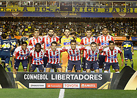 "BUENOS AIRES - ARGENTINA - 04 - 04 - 2018: Los jugadores de Atletico Junior, posan para una foto, durante partido de la fase de grupos, grupo H, fecha 2, entre Boca Juniors (ARG) y Atletico Junior (Col) por la Copa Conmebol Libertadores 2018, jugado en el estadio Alberto J. Armando ""La Bombonera""  de la ciudad Ciudad Autónoma de Buenos Aires. / The players of Atletico Junior, pose for a photo, during a match of the groups phase, group H, of the 2nd date between Boca Juniors (ARG) and Atletico Junior (Col), for the Copa Conmebol Libertadores 2018 at the Alberto J. Armando ""La Bombonera"" Stadium in Ciudad Autónoma de Buenos Aires. Photo: VizzorImage / Javier Garcia Martino / Photogamma / Cont."
