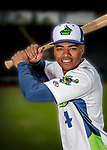 13 June 2018: Vermont Lake Monsters outfielder Jeramiah McCray poses for a portrait on Photo Day at Centennial Field in Burlington, Vermont. The Lake Monsters are the Single-A minor league affiliate of the Oakland Athletics, and play a short season in the NY Penn League Stedler Division. Mandatory Credit: Ed Wolfstein Photo *** RAW (NEF) Image File Available ***