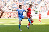 Bridgeview, IL - Sunday June 12, 2016: Jennifer Hoy, Emily Sonnett during a regular season National Women's Soccer League (NWSL) match between the Chicago Red Stars and the Portland Thorns at FC Toyota Park.