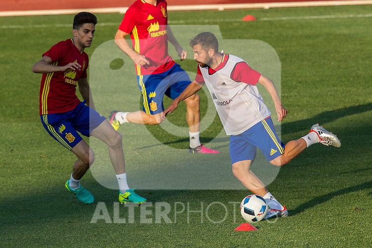 Spain's Marc Bartra and Jordi Alba during the first training of the concentration of national soccer team before the Uefa Euro 2016.  Jun 4,2016. (ALTERPHOTOS/Rodrigo Jimenez)