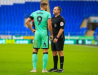 4th January 2020; Cardiff City Stadium, Cardiff, Glamorgan, Wales; English FA Cup Football, Cardiff City versus Carlisle; Referee Geoff Eltringham speaks with Hallam Hope of Carlisle United after a late challenge - Strictly Editorial Use Only. No use with unauthorized audio, video, data, fixture lists, club/league logos or 'live' services. Online in-match use limited to 120 images, no video emulation. No use in betting, games or single club/league/player publications