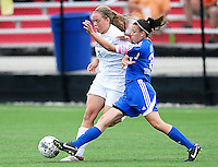 Oregon's Holly Kaboord goes up against Green Bay Southwest's Paige Pierce, as Oregon tops Green Bay Southwest 3-0 to win the WIAA Division 2 girls soccer state championship, on Saturday, June 20, 2015 at Uihlein Soccer Park in Milwaukee, Wisconsin